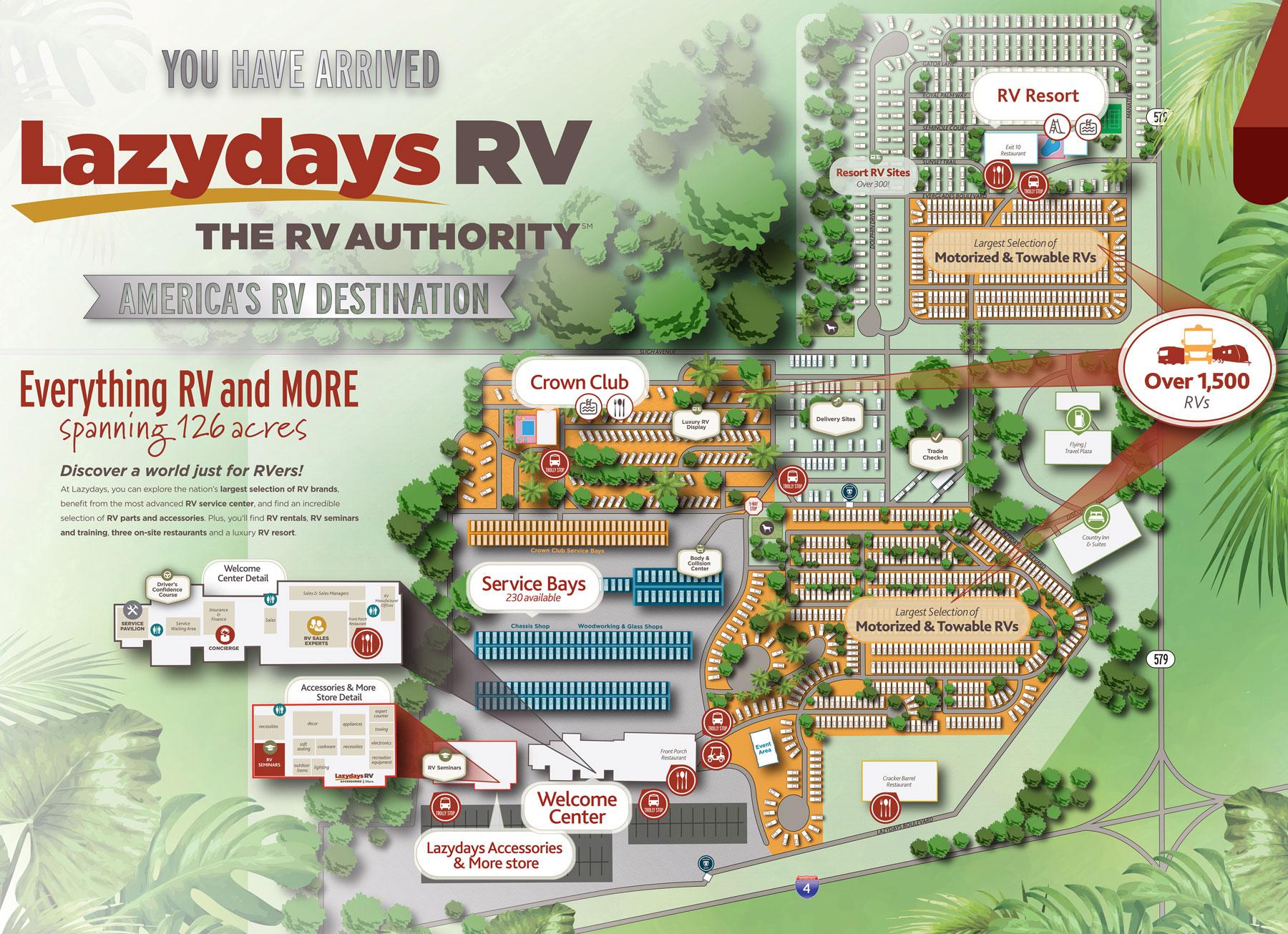 Lazydays Tampa Dealership Map