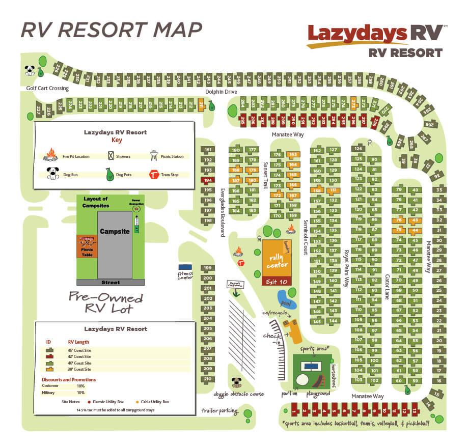 Tampa RV Resort Map   Lazydays RV in Tampa, Florida